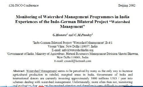 """Monitoring of Watershed Management Programmes in India Experiences of the Indo-German Bilateral Project """"Watershed Management"""